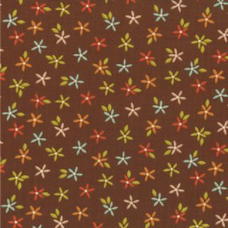 Moda Wrens and Friends - 2994 - Small Floral, Multi-Coloured on Brown - 10006-18 Cotton Fabric